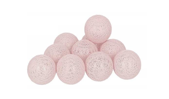 Гирлянды Cotton Balls GreyPink Тайские Шарики 10led, диам 6см, длина 180см на батарейках АА