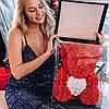 Мишка из 3D роз 40 см с сердечком в подарочной коробке, фото 2