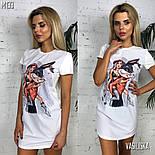 Женское белое платье-футболка с популярными принтами (в расцветках), фото 7