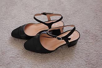 Женские босоножки черные на каблуке 5см носок закрытый под дресскод 36 38