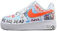 Мужские кроссовки Custom Pauly x Vlone Pop Nike Air Force 1 Low Graffiti Harlem White