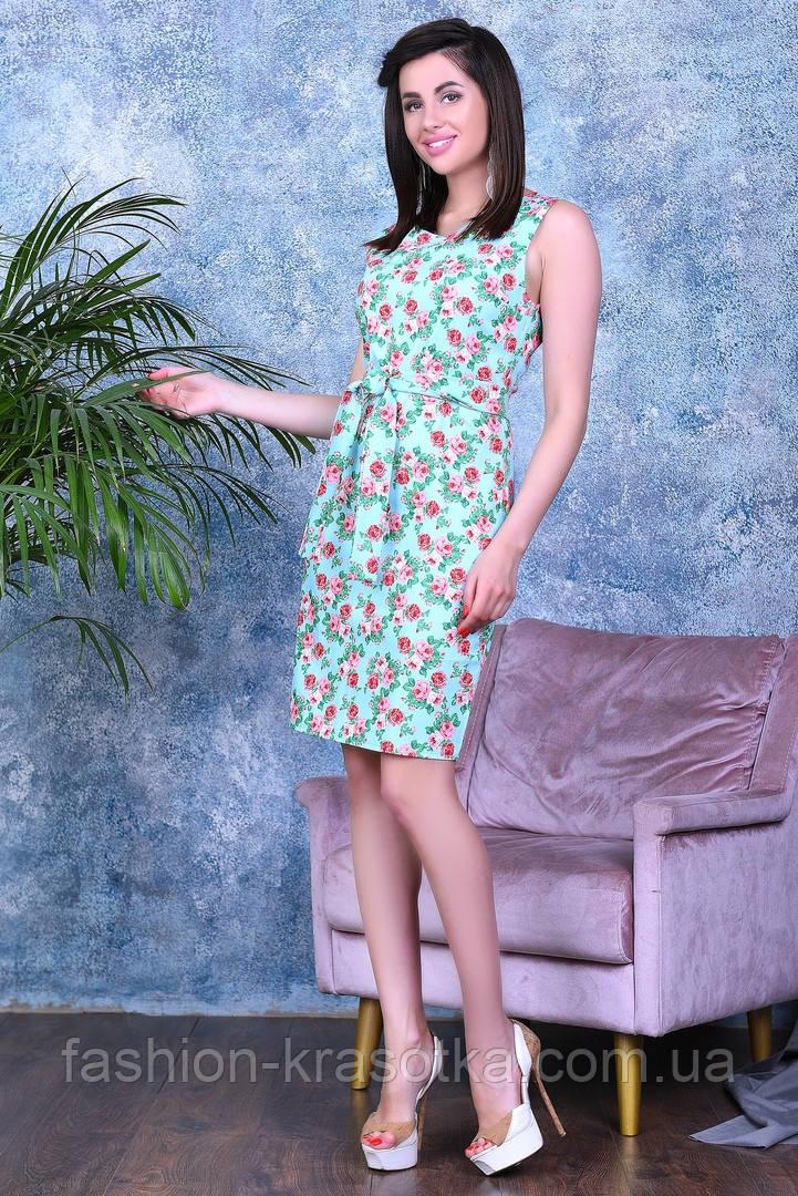 Легкое летнее платье,ткань летний джинс-стрейч,размеры: 44,46,48,50.
