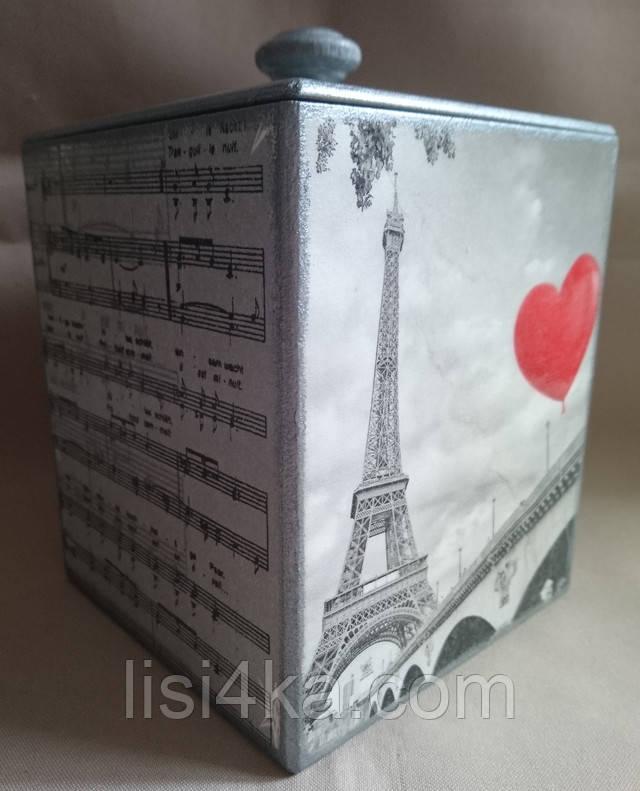 Деревянная емкость для сыпучих продуктов с парижским рисунком в серебристо-серых тонах
