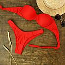 Женский купальник бандо красный, фото 4
