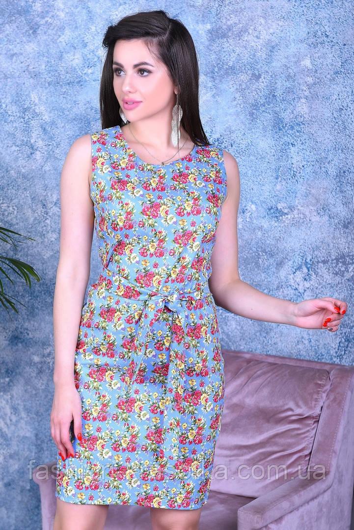 Нарядное цветное женское платье,ткань летний джинс-стрейч,размеры:44,46,48,50.