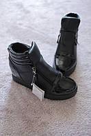 Женские кроссовки сникерсы Coco Paris черные  две молнии  37-38   новинка!