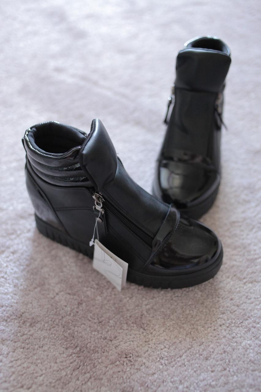 Женские ботинки сникерсы черные две молнии 37-38