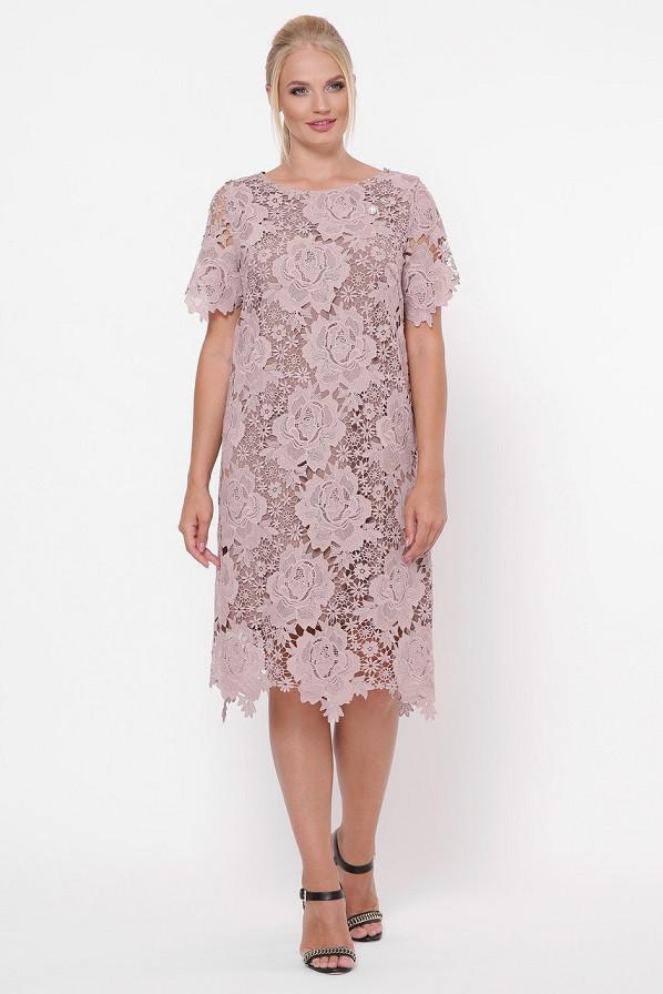 Платье из кружева Элен светлый беж (52-58)