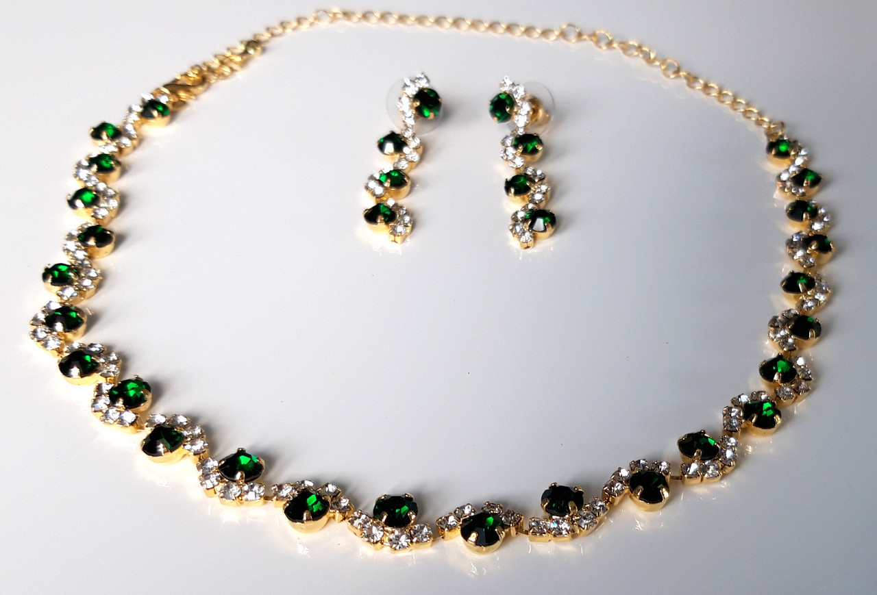 Колье набор зеленые камни, золотистое