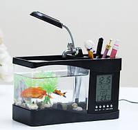 Настольный USB-аквариум с часами и термометром Черный