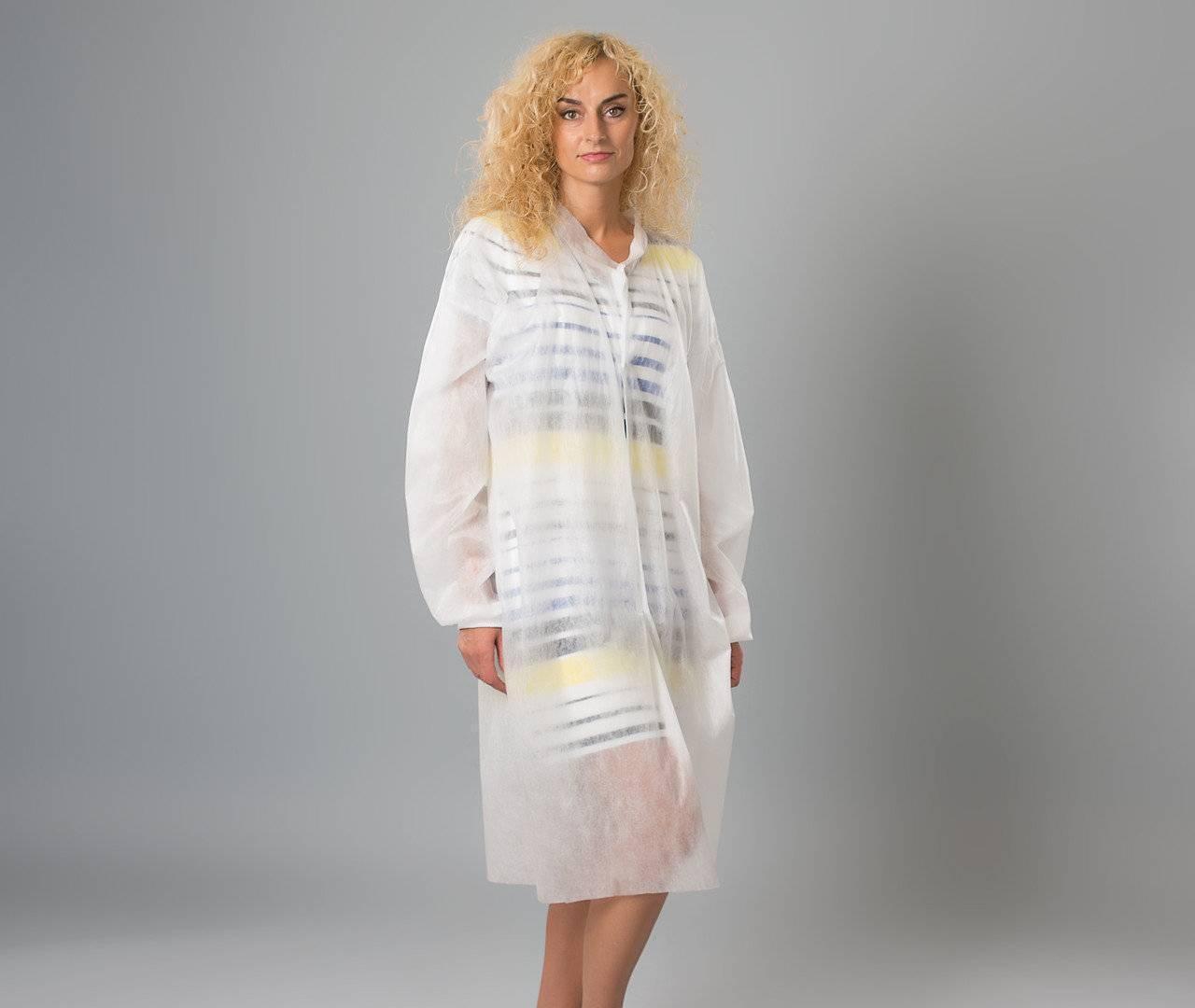 Защитный халат из нетканого материала для посетителя на кнопках Polix PRO&MED 25 г/м² 10 УП (10 ШТ) белый