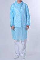 Защитный халат из нетканого материала для посетителя на кнопках Polix PRO&MED 25 г/м² 10 УП (10 ШТ) голубой