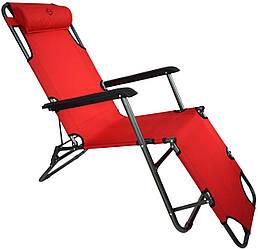 Шезлонг раскладной пляжный для дачи (3 положения, габариты 170х60 см, max. нагрузка 100 кг)