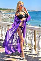 Туника женская длинная из шифона с завязкой на поясе со свободными рукавами (К28012), фото 1