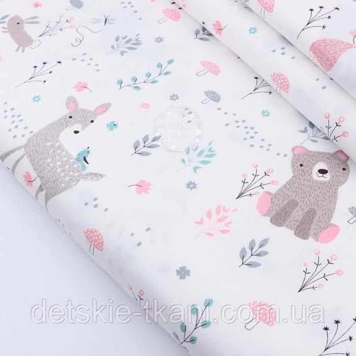 """Сатин ткань """"Сидящий мишка, косуля и розовая лисичка"""" на белом № 2320с"""