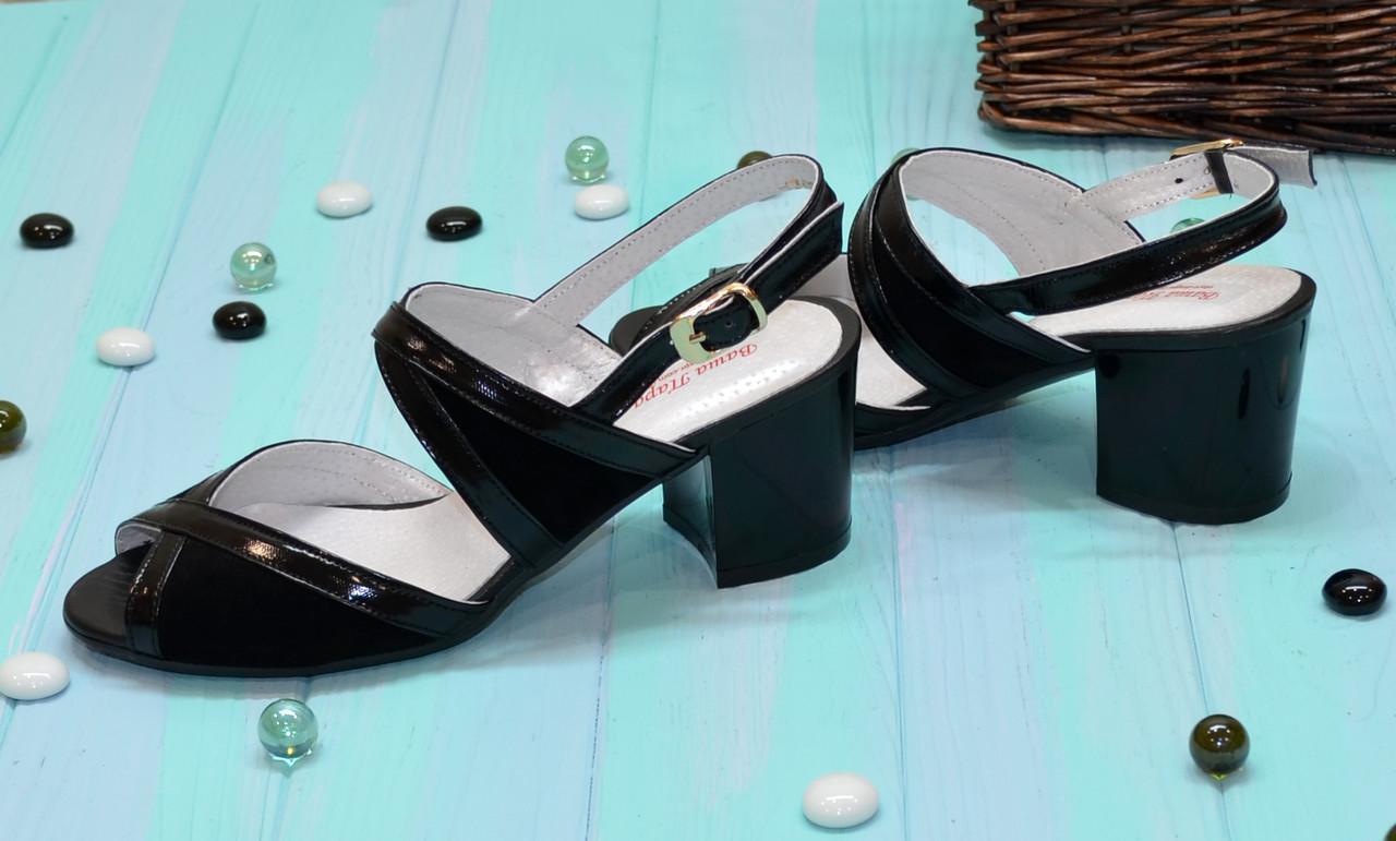 28664d557 ... Женские черные босоножки на устойчивом каблуке, натуральная замша и  лаковая кожа., ...