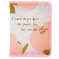 """Папка """"Axent"""" №1805-10 А5+ """"Fleur"""" на блиск. об'ємн. рожева"""