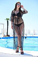 Туника женская плажная длинная из сетки с горошком из флока (К28015), фото 1