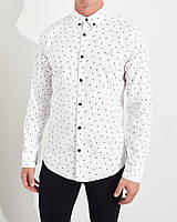 Мужская стильная белая хлопковая рубашка Hollister