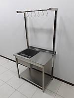 Стол c мойкой и крюками для утвари  900х600х1800, фото 1