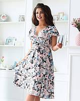Женское удлиненное платье с цветочным принтом, розовое. Размеры 48, 50, 52