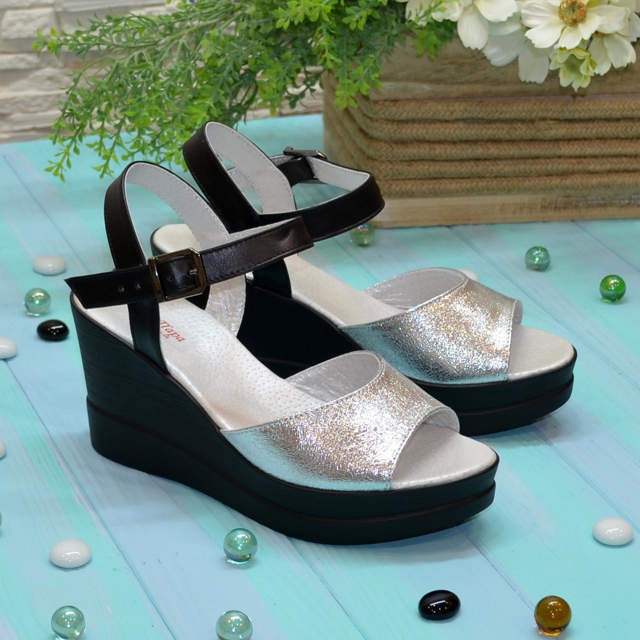 48d34d85155c Босоножки кожаные женские на устойчивой платформе, цвет серебро/черный:  продажа, ...