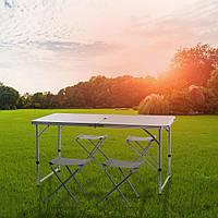Раскладной стол и 4 шт стулья чемоданчик 120 см -60 см Белый