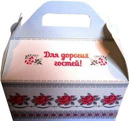 Коробка для каравая белая с розами