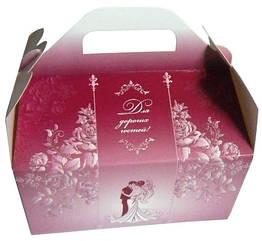 Коробки для свадебного каравая бордовая с блестками