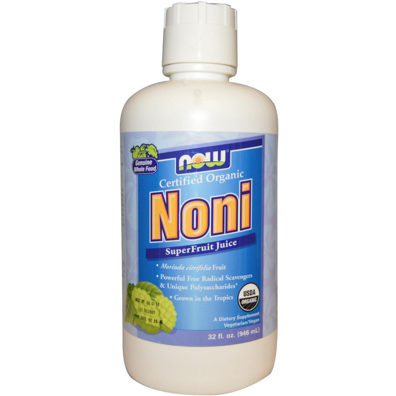 Now Foods, Органический нони, сок суперфрукта, Noni Сок Нони (946 мл)