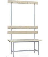 Скамейка гардеробная СВ -1500 со спинкой и вешалкой, h1650х1500х375мм