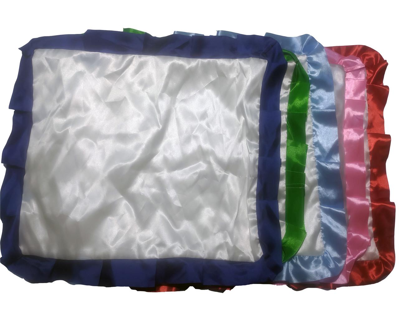 Подушка сублимационная атласная цветная с РЮШЕМ 45х35 СИНИЙ