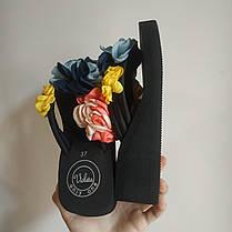36. 37  Вьетнамки с цветком на танкетке черные с цветками шлепки шлепанцы на каблуке платформе тапки тапочки, фото 3