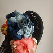 36. 37  Вьетнамки с цветком на танкетке черные с цветками шлепки шлепанцы на каблуке платформе тапки тапочки, фото 2