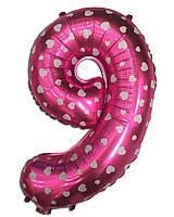 Шар фольгированный цифра 9 розовый с сердечками 70 см