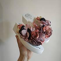 В'єтнамки з квіткою на танкетці білі з квітками шльопанці шльопанці на підборах платформі сланці тапки тапочки, фото 2