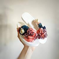 В'єтнамки з квіткою на плоскій підошві БІЛІ з квітками шльопанці шльопанці на плоскій підошві