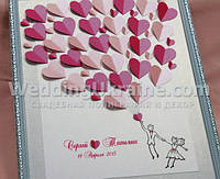 Дерево пожеланий молодоженам на свадьбу на 30 листиков-сердечек