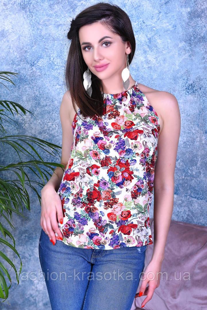 Модная легкая летняя блуза,ткань шпатель-принт 3D ,размеры:44,46,48,50,52.