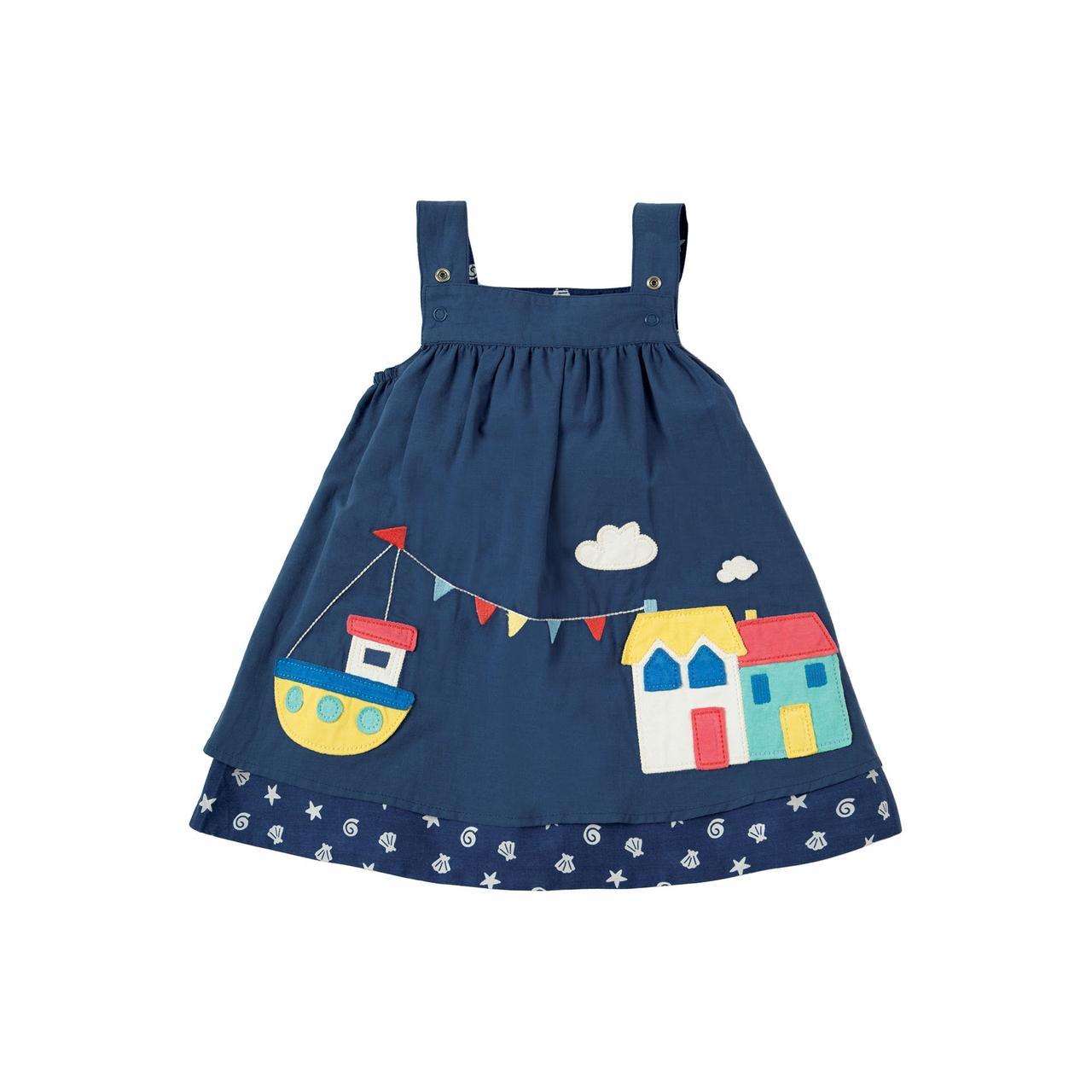 Платье детское синее Frugi,  Rosemary Reversible