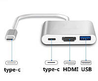 Конвертер USB Type C - to - HDMI / USB 3.1 / TYPE-C Переходник MacBook iMac