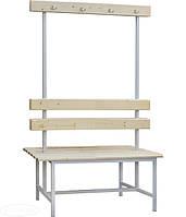 Скамейка двухсторонняя 2СВ-1500 со спинкой и вешалкой, h1660х1500х685мм