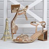 Босоножки женские на широком устойчивом каблуке Cleopatra золотистые, Золотистый, 41