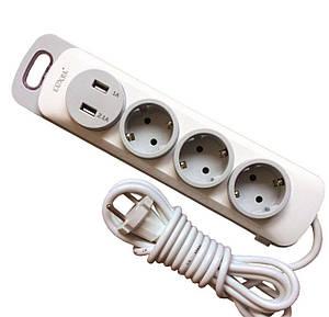 Сетевой удлинитель (фильтр) с USB зарядкой, 3 розетки, 2 USB (2.1А + 1А), 5 метров, Luxel Nota 4335