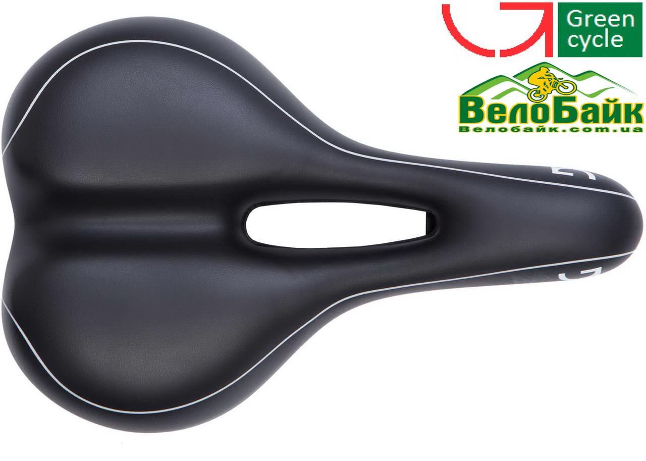 Седло велосипедное Green cycle Relaxed Unisex GSD-121 стальные рельсы SAD-10-22 черный