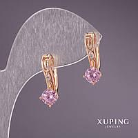 Серьги Xuping с камнем цвет розовый 19х7мм позолота 18к