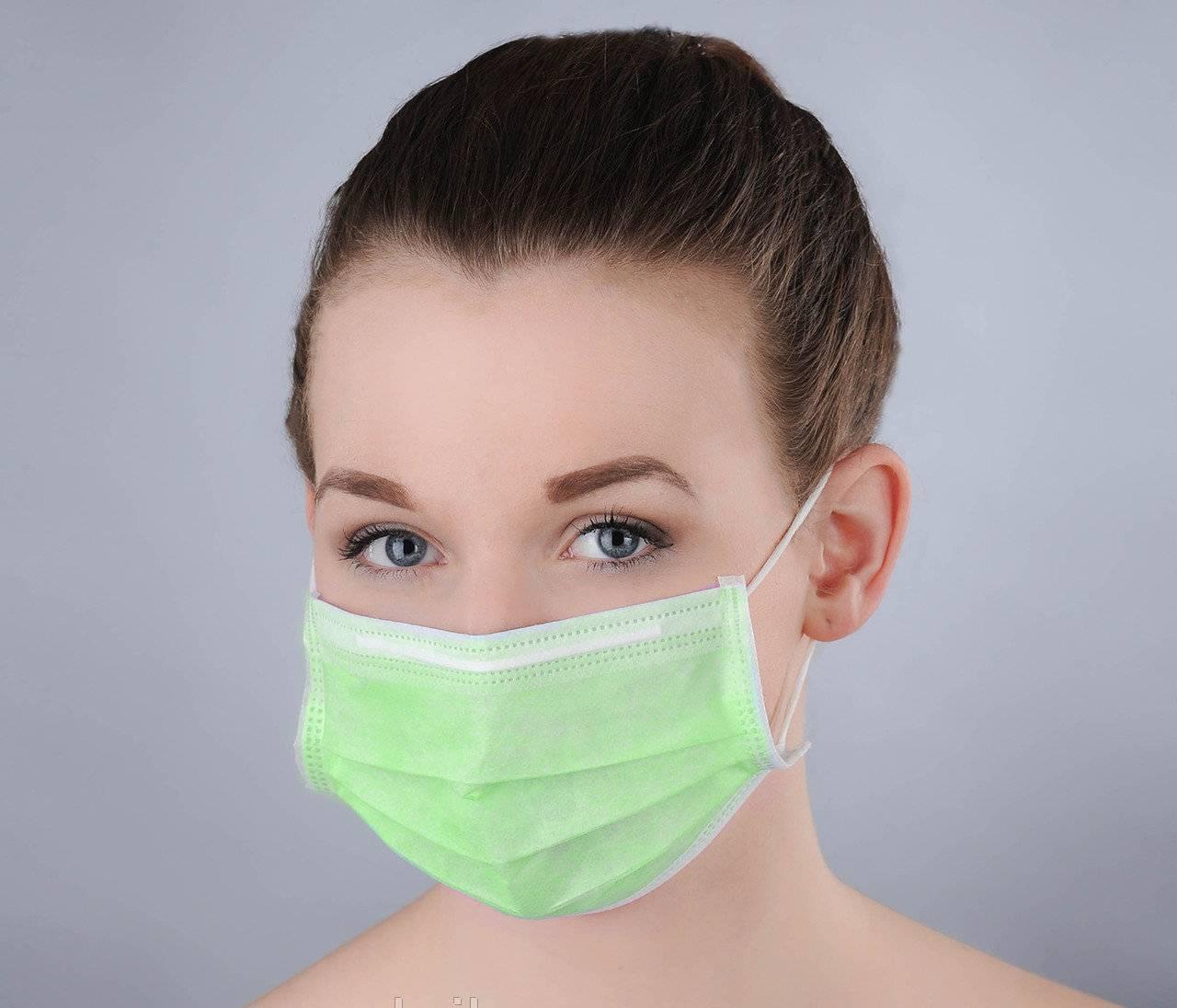 Маска медицинская трехслойная с гибким носовым фиксатором Polix PRO&MED 50 ШТ зеленая