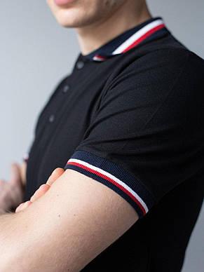 Чоловіче медичне поло чорного кольору з смужкою М - ХХL, фото 2