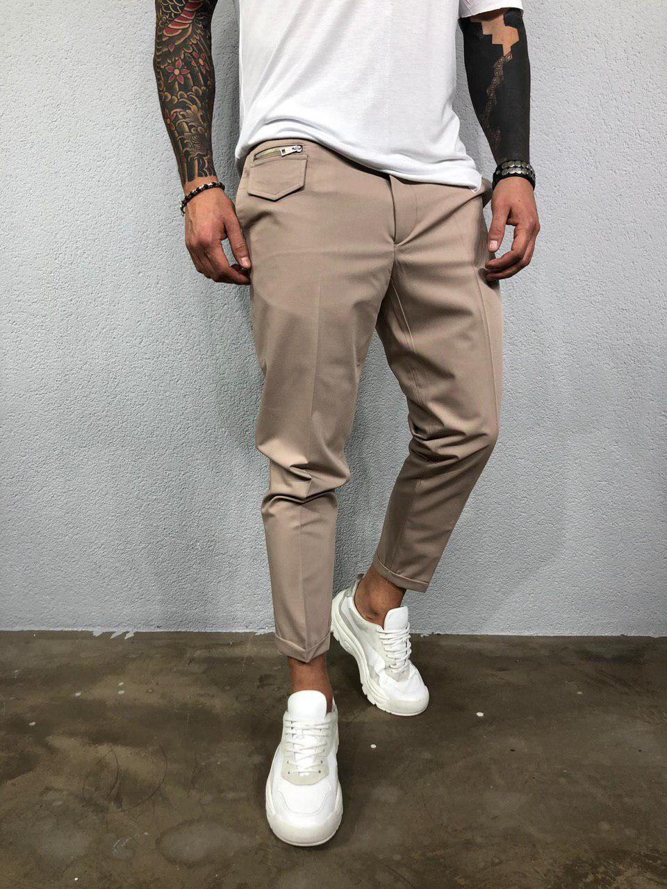 Модные мужские брюки бежевые