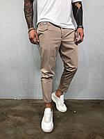 Модные мужские брюки бежевые, фото 1